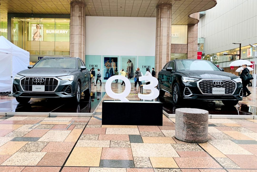 天神の岩田屋 福岡本店前にAudi Q3を展示しております。